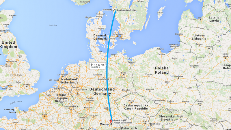 Google Maps Gothenburg to Munich